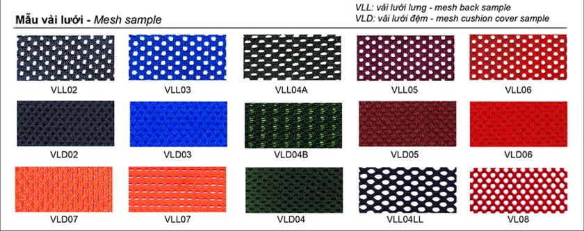 Bảng mẫu màu lưới ghế 190